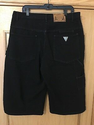 Vintage GUESS JEANS Mens Black Denim Carpenter Shorts Size 38