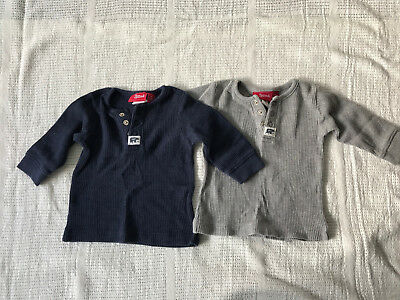 2 x Sprout henley waffle long sleeve tshirt baby boy size 000