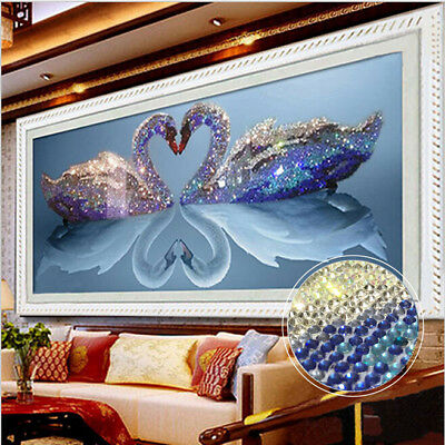 5D Swan Embroidery Mosaic Diamond Painting Cross Stitch Kit Home Decor Craft a