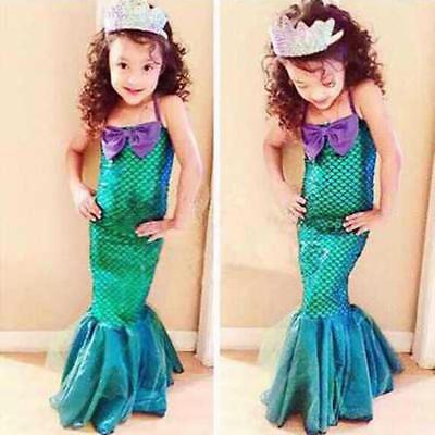 Kid Little Mermaid Girl Princess Dress Party Cosplay Costume Outfits B