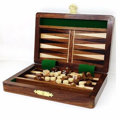 "6"" Wooden Travel Backgammon Set Includes Game Pieces & Folding Board"