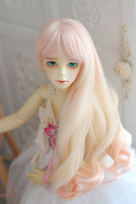 King's shop WIG long curl bjd SD 8-9 size for 1/3 doll light pink+blonde