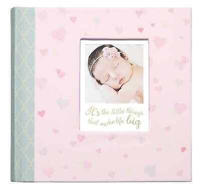 CR Gibson LITTLE LOVE Hearts Pink Baby Girl Large Photo Album 160 4x6 Pic