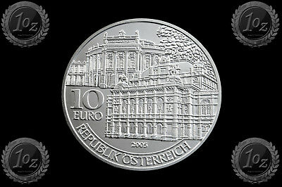 AUSTRIA € 10 EURO 2005 (BURG THEATER OPERA) SILVER Comm. Coin * UNCIRCULATED