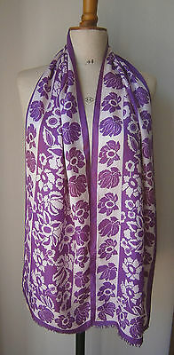 VINTAGE 1960s LONG SILK SCARF PURPLE & WHITE ABSTRACT FLOWER PRINT