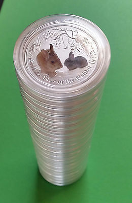 Lunar II 2011, rabbit, 10 x 1/2 oz. silver, colorized, half sealed roll, BU