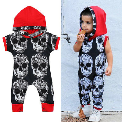 US Stock Toddler Baby Boy Clothes Halloween Cotton Hooded Romper Jumpsuit Outfit