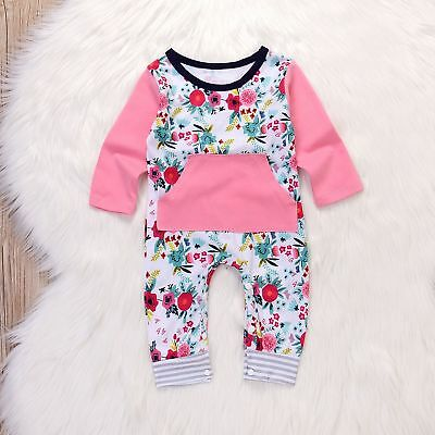 US Stock Newborn Baby Girls Long Floral Romper Bodysuit Playsuit Clothes Outfits