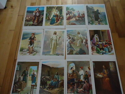 "12 Vintage Religious Lithographs Providence Lithograph Co Lot Posters 17"" X 12"""