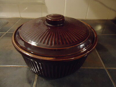 Vintage Lidded Brown Crock Pottery Usa Casserole Bean Pot