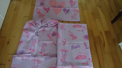 Barbie 3 Piece Bed Set Sheets & Pillowcase  Twin