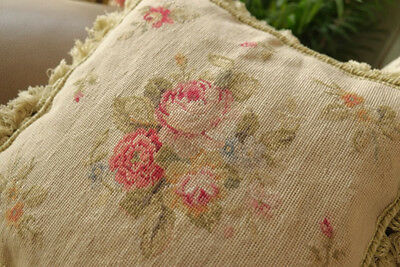 "14""NeedlepointCushion  Exquisite Stunning Well Handmade English Country Rose"