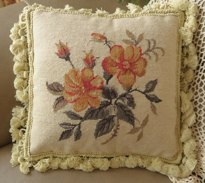 "12""  Needlepoint Cushion Simple But Elegant Oleander French Country Handmade"