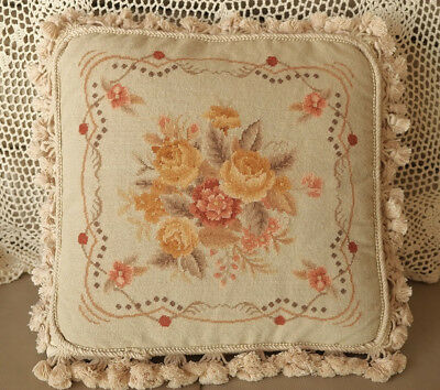 "16"" NeedlepointCushion So Beautiful Soft Tone Antique Rose Aubusson Design"