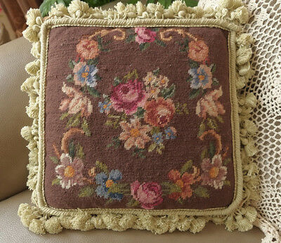 "14"" NeedlepointCushion Scandinavia Shabby CountryDeep Background Color Handmade"