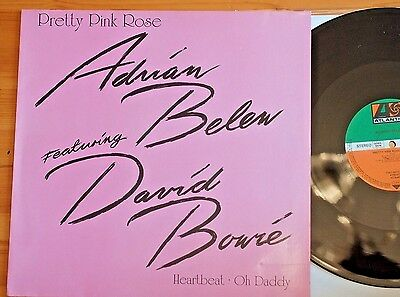 """Rare David Bowie with Adrian Belew Pretty Pink Rose 3 Tracks 12"""" Single Atlantic"""