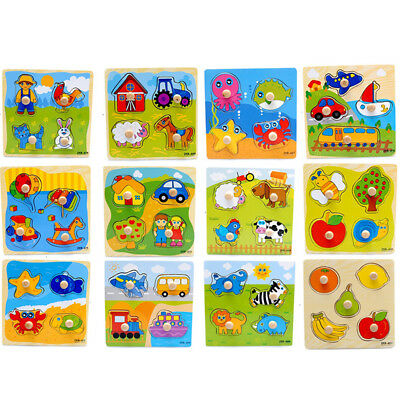 Cartoon Wooden Jigsaw Puzzle Toy Children Kids Baby Learning Educational Toy