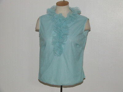 Vintage Blouse Sheer Blue Nylon Ruffled&frilled 1950's Era Party Perfect Super.