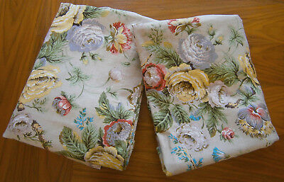 "VINTAGE 1950s PAIR OF ENGLISH FLORAL LINEN CURTAINS  68"" X 42"" SANDERSON?"