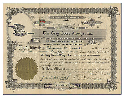 Gray Goose Airways, Inc. Stock Certificate (Flapping Wing Plane Stock Fraud)