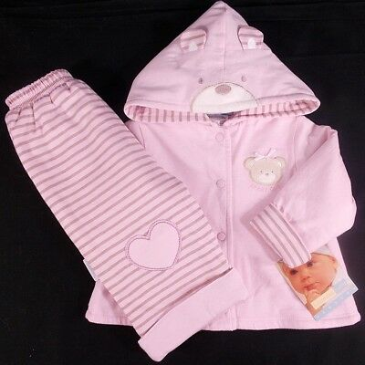 Vitamins baby girl jacket trouser outfit set pink beige 6 month bnwts