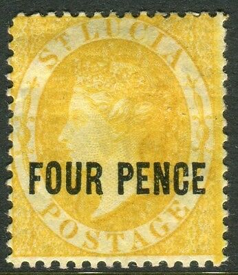 ST LUCIA-1882-4 4d Yellow Perf 14.  A mounted mint example Sg 27