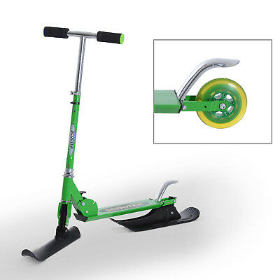 """36.2"""" Folding Snow Scooter 2-in-1 Ski Skooter Snowboard Kick-Scooter Green"""