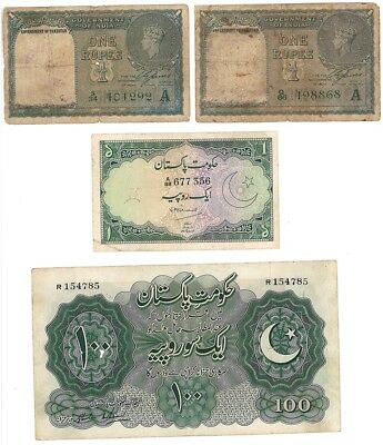 rare Pakistani banknotes: 2 pcs pick 1 , 1 rupee OVPT, pick 4,1 rs and pick7