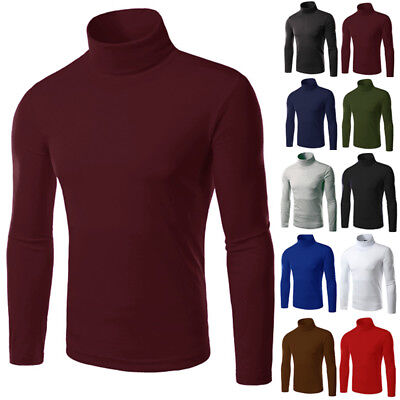 Mens Warm Slim Basic Knitted Turtleneck Pullover Sweater Shirt Undershirt Hot