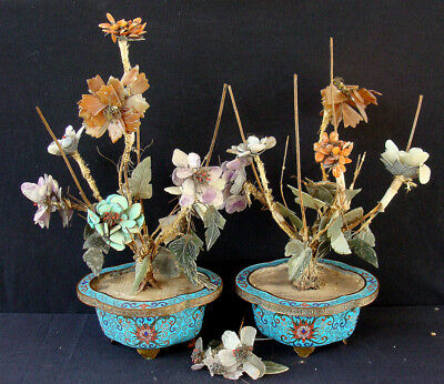 Pair of 2 Antique Chinese C19th Qing Dynasty Cloisonne Vases Turquoise Carnelian