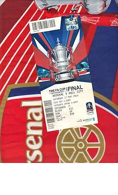 OFFICIAL FLAG + TICKET FROM 2014 FA CUP FINAL - ARSENAL v HULL CITY