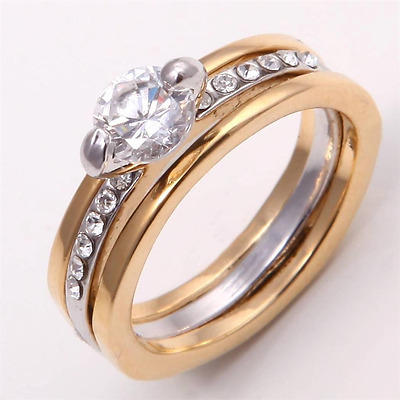 Ring 9ct 2 Tone Gold filled Diamond Engagement & Wedding set size T Christmas