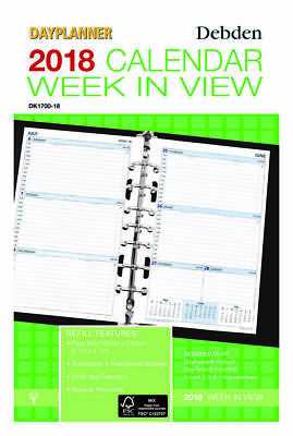 2018 DEBDEN DIARY DAYPLANNER REFILL WEEK IN VIEW 7 RING DK1700 216 x140mm NEW