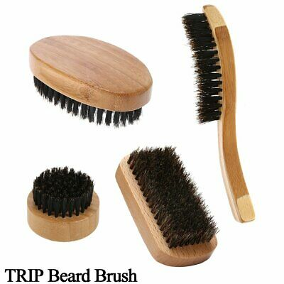 Natural Boar Bristle Beard Brush Mini Mens Mustache Hair Shaving Facial Cleaning