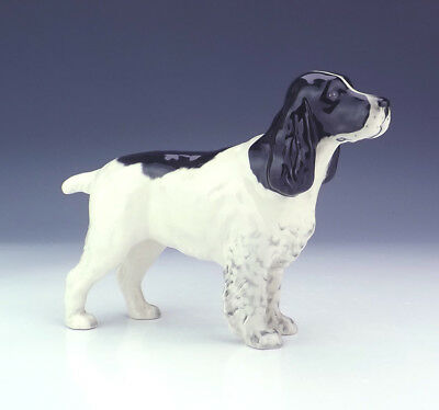 Beswick Pottery - Hand Painted Black & White Spaniel Dog Figure - Nice!