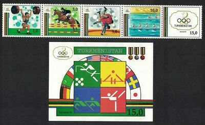 Turkmenistan Olympic Games Barcelona strip of 4v+MS SG#16/MS21 SC#22-23
