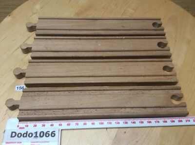 4 x Long (21cm) Straight Tracks - Wooden Train Track (BRIO, Thomas etc)