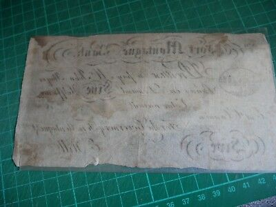 RARE 1800's SKIT Fort Montague Bank Note For Five Half Pence