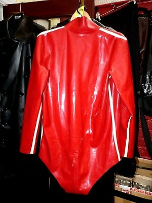 red heavy latex rubber body suit 44 to 48 chest long sleeve zip thro crotch K