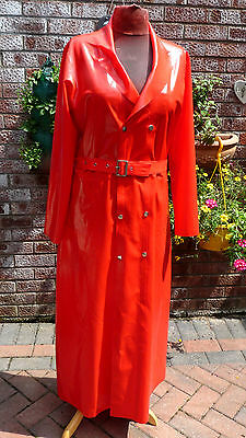 shiny red latex XL trench raincoat red 44 48 chest TV belt shiny long BH