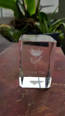 Small 3D laser engraved Paper Weight with flower & I Love You inscribed