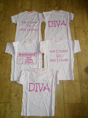 5 X Girls Lot T-Shirts New Pink 100% Cotton Joblot Resell Markets Carboot