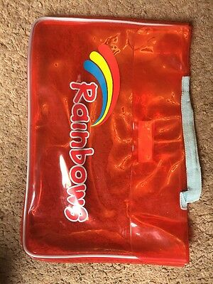 Girls Rainbows Clear Plastic Red Carry Bag For Books Or Papers Girl Guides