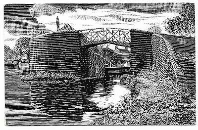 Postcard. Junction Lock, Lapworth. From a Drawing by J.K.Ebblew. Mailed  in 1974