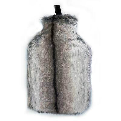 Full Size Hot Water Bottle With Faux Fur Cover - Light Grey Fur