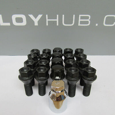 New Set Of Bmw 5 Series E12,e28,e34,e39,e60,e61 Black Wheel Bolts & Locks Nuts