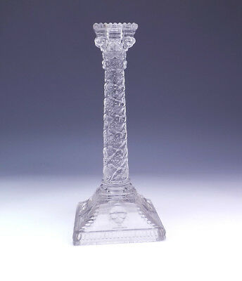 Antique Victorian Pressed Glass - Cherub Decorated Candlestick - Lovely!