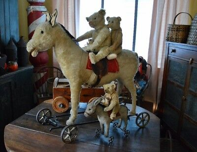 Rare Antique Largest size Steiff Donkey ESEL on Wheels w/ Steering & Button