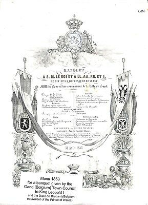 Q416-Belgium 1853 Menu for a Banquet in Honour of King Leopold I