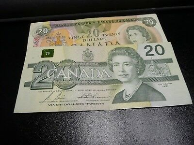 Canadian  old $20 banknotes